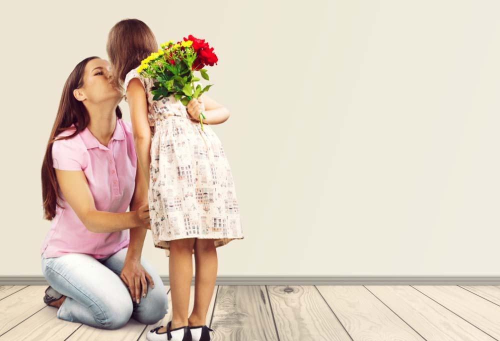 anya, gyerek, virág, anyák napja
