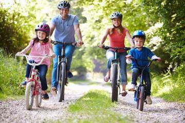 bicikli, család, természet, mozgás